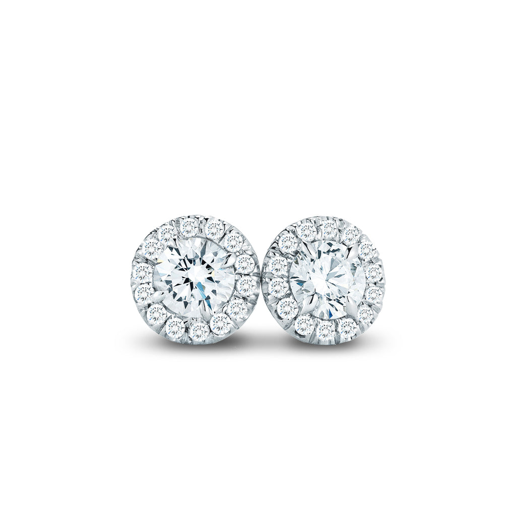 .50CTW White Gold Diamond Halo Stud Earrings