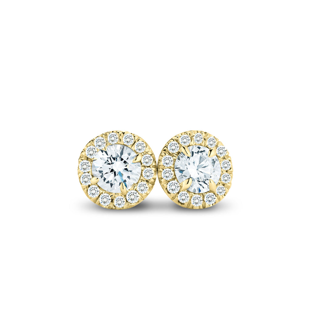 .50CTW Yellow Gold Diamond Halo Stud Earrings
