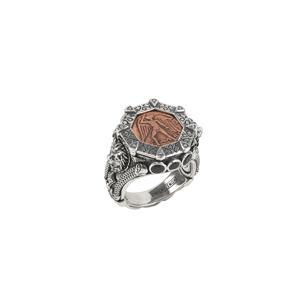 Konstantino - SS Copper Coin Spinel Ring, DMK2081-374