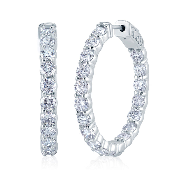 1.00CTW Diamond Inside Out Hoop Earrings