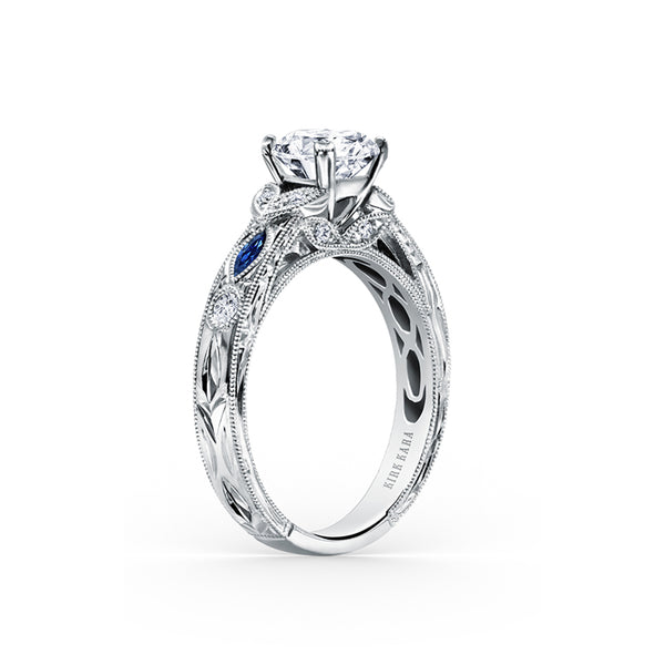 Kirk Kara Dahlia - 18k white gold 0.12ctw Diamond Engagement Ring, K1120SDC-R