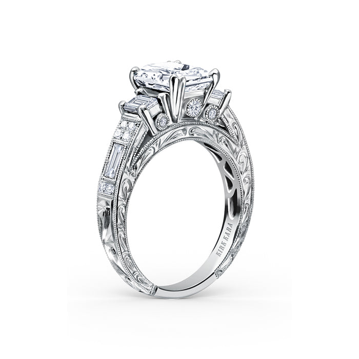 Kirk Kara Charlotte - 18k white gold 0.48, 0.26, 0.11ctw Diamond Engagement Ring, K1384DE-R