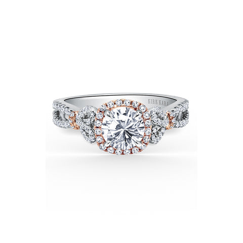 Kirk Kara Pirouetta - 18k white gold, 18k rose gold 0.70ctw Diamond Engagement Ring, K174C65RWR