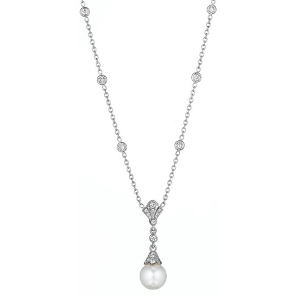 Penny Preville - 18K WG 0.51ctw Cultured Pearl & Diamond Necklace, N5574W