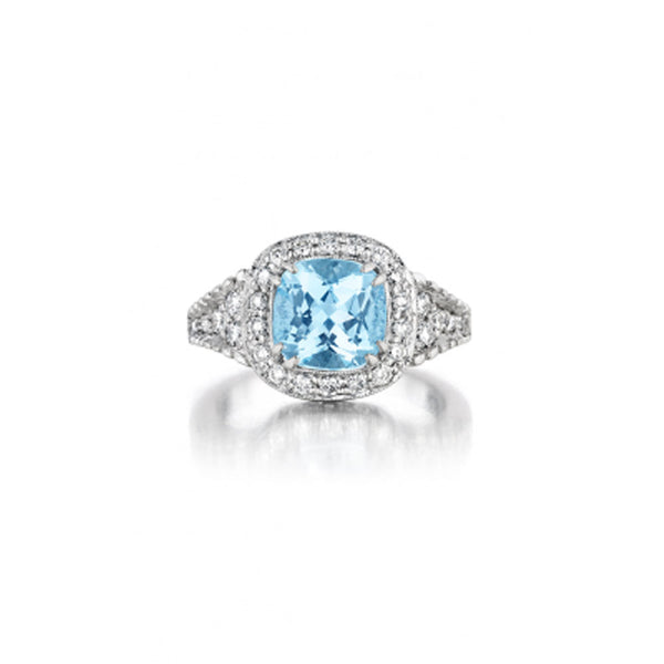 Penny Preville - 18K WG Diamond & Aquamarine Ring, R2054W