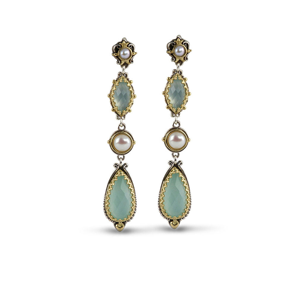Konstantino - SS / 18k YG Sea Blue Agate & Cultured Pearl Earrings, SKKJ555-345