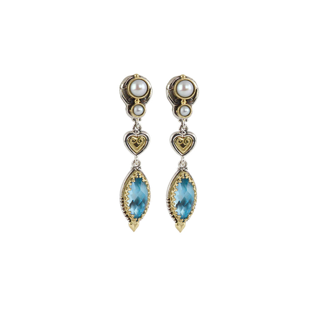 Konstantino - SS/18k YG Blue Topaz & Cultured Pearl Earrings, SKKJ556-347
