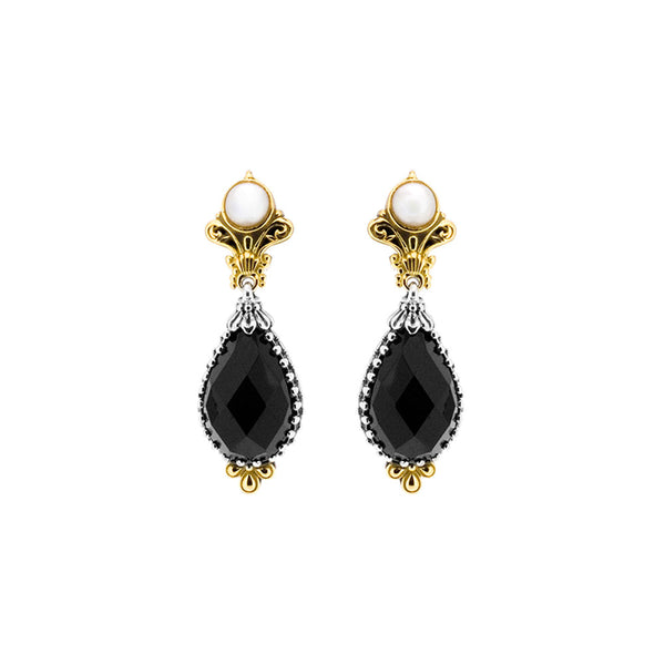 Konstantino - SS/18k YG Black Onyx & Cultured Pearl Earrings, SKMK2983-224