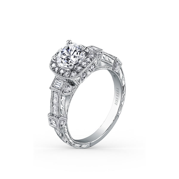 Kirk Kara Carmella - 18k white gold 0.30, 0.16ctw Diamond Engagement Ring, SS6757-R