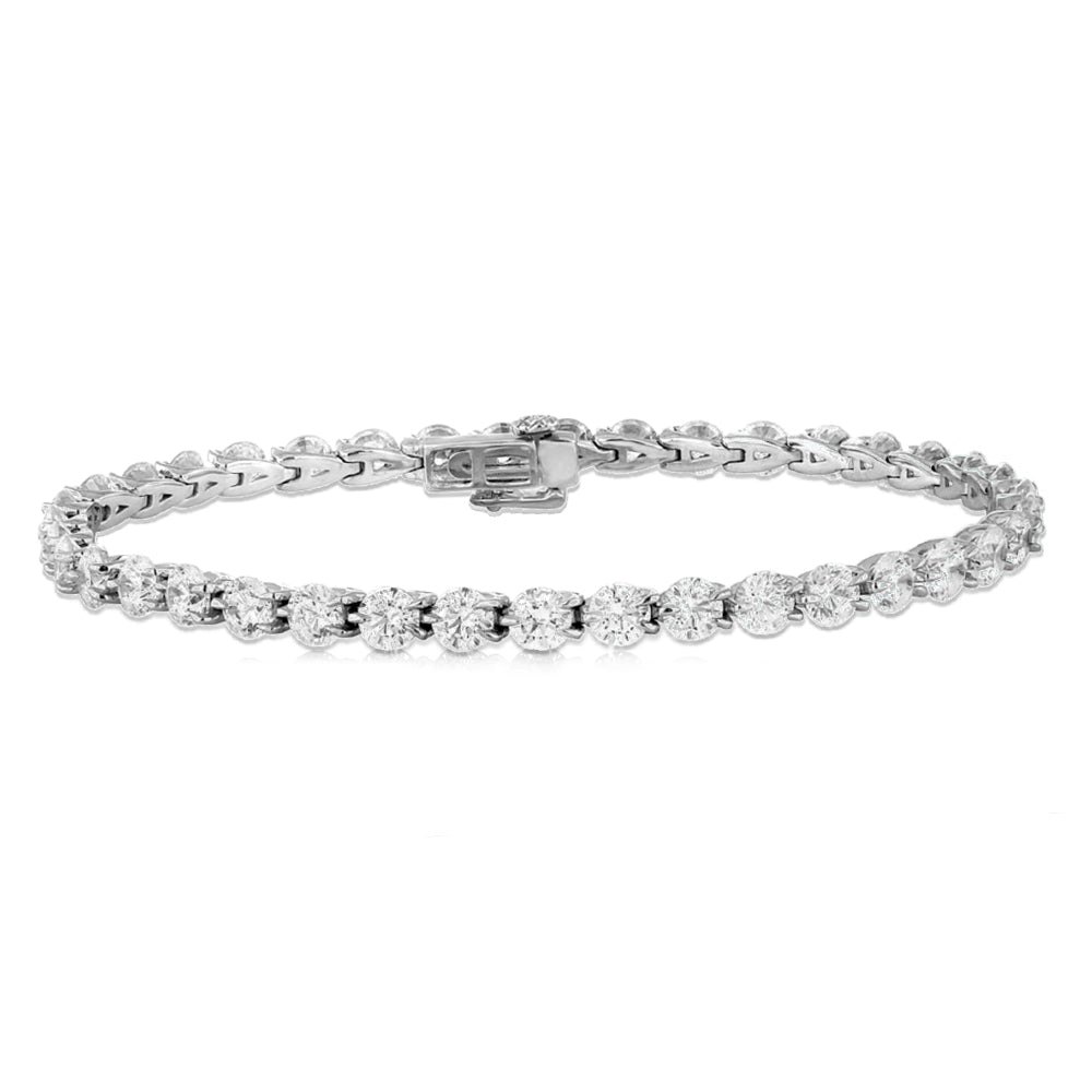 14K White Gold 5.00ctw JK I1 Round Prong Set Tennis Bracelet