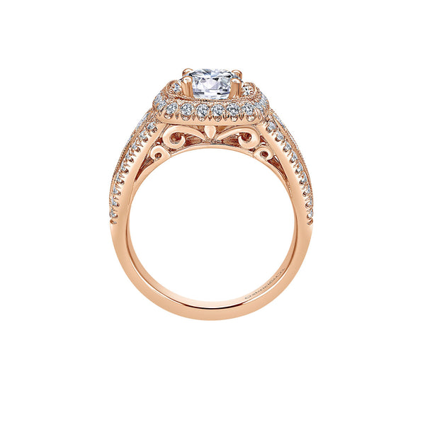 Vintage 14k Rose Gold Round Double Halo Engagement Ring