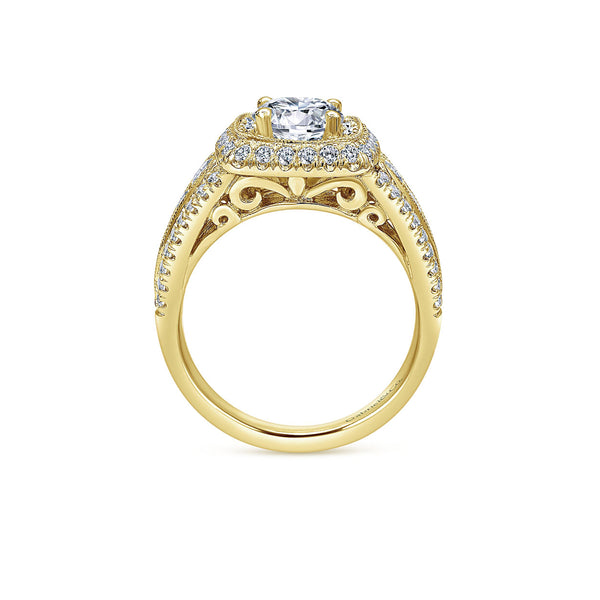 Vintage 14k Yellow Gold Round Double Halo Engagement Ring