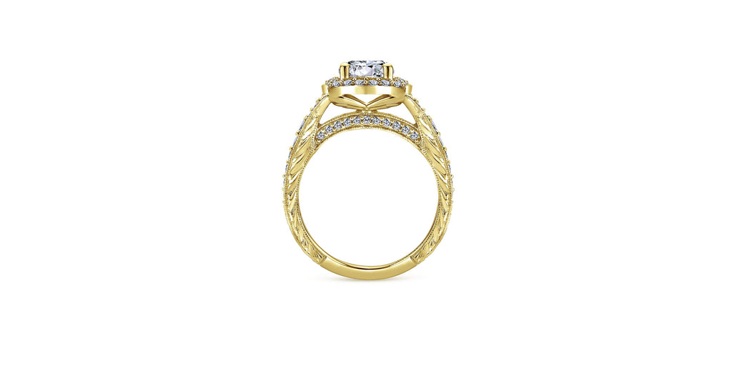 Theresa Vintage 14k Yellow Gold Round Halo Engagement Ring