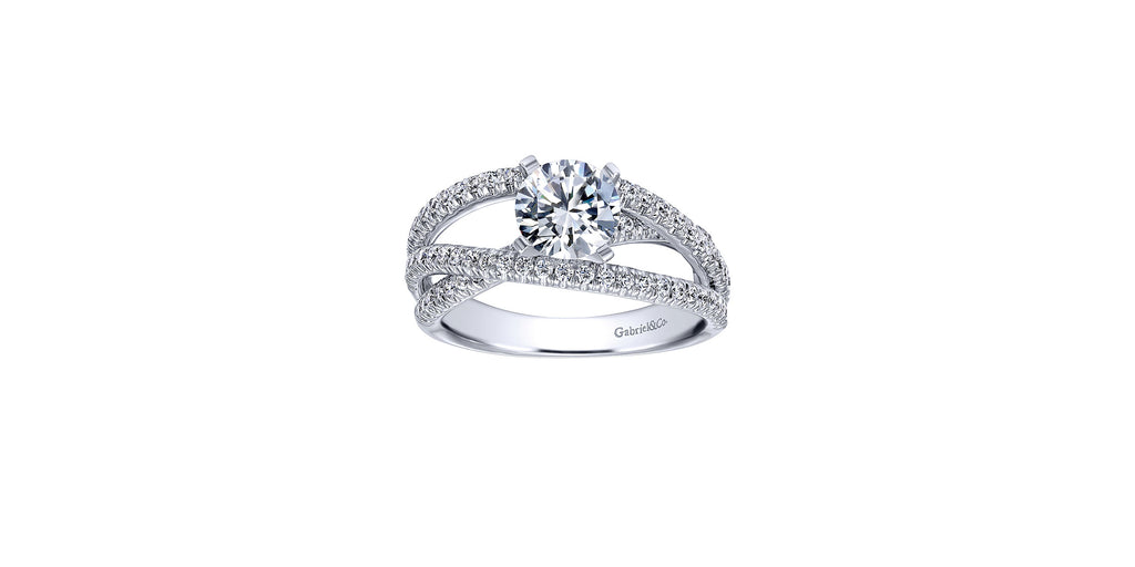 Mackenzie Platinum Round Free Form Engagement Ring