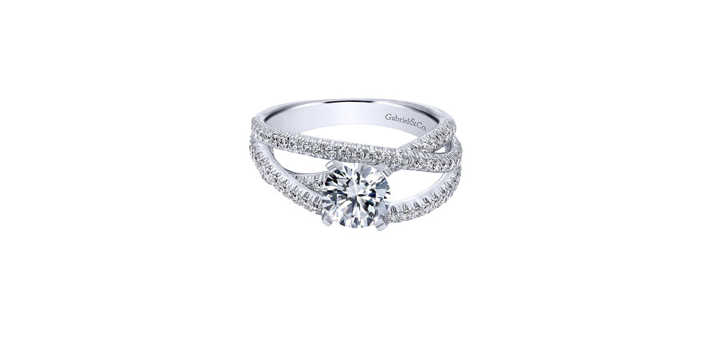 Mackenzie 14k White Gold Round Free Form Engagement Ring
