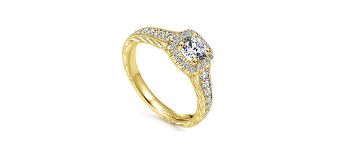 Vintage 14k Yellow Gold Round Halo Engagement Ring
