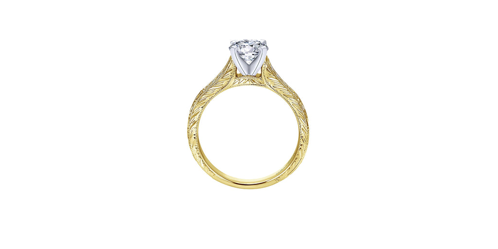 Audra Vintage 14k Yellow Gold Round Straight Engagement Ring