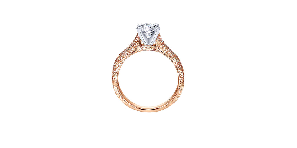 Audra Vintage 14k Rose Gold Round Straight Engagement Ring