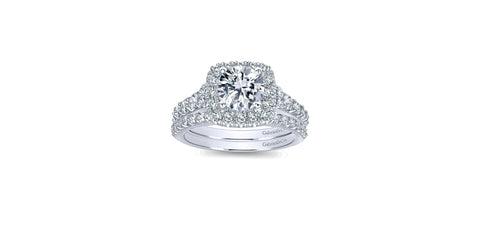 Reese 14k White Gold Round Halo Engagement Ring