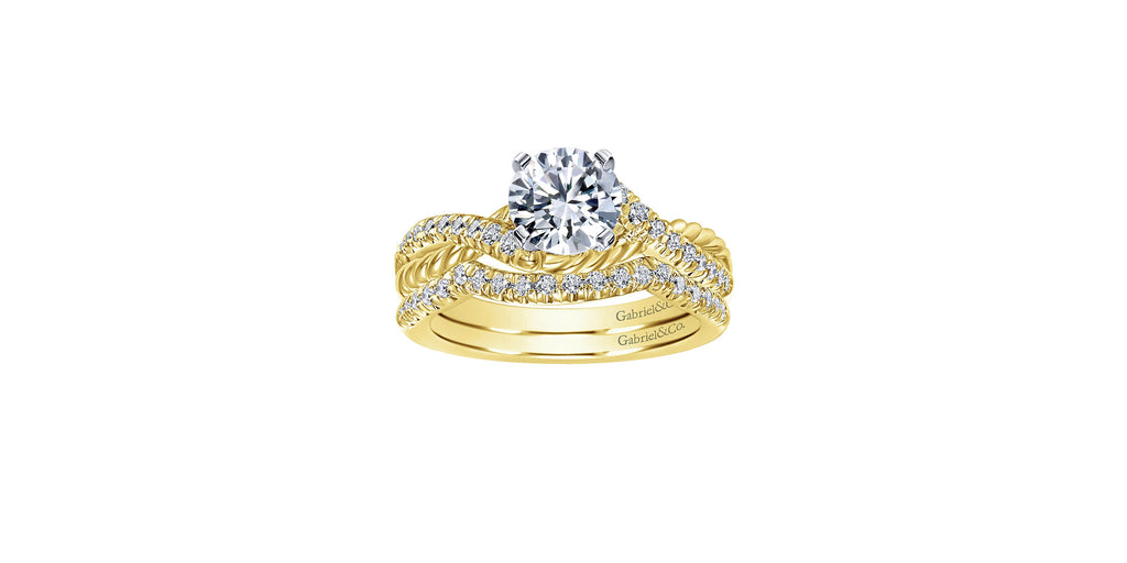 Adrianna 14k Yellow Gold Round Twisted Engagement Ring