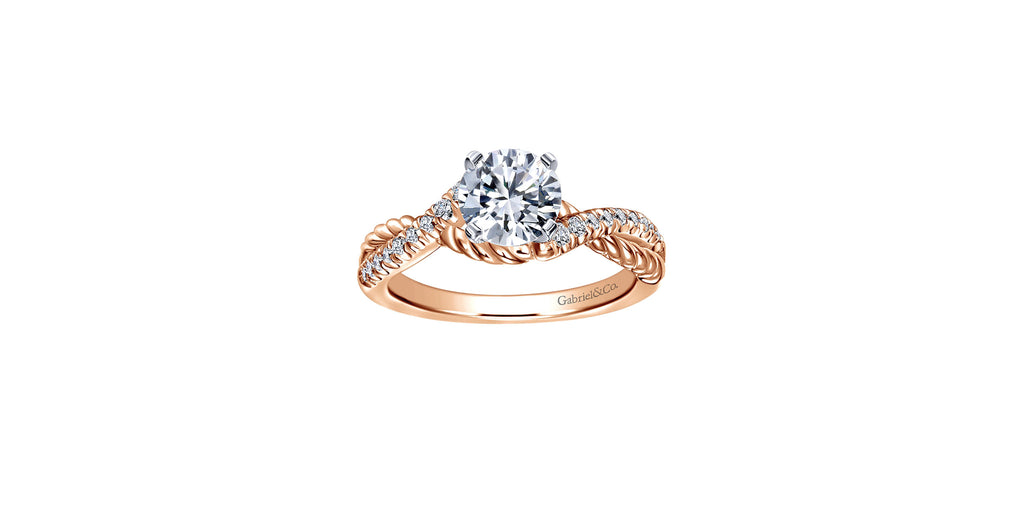 Adrianna 14k Rose Gold Round Twisted Engagement Ring