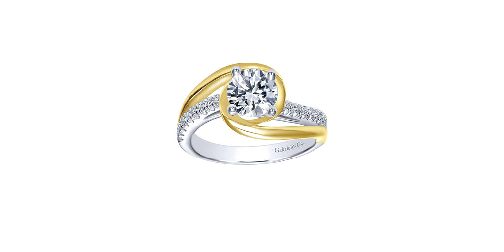 Lucca 14k Yellow & White Gold Round Bypass Engagement Ring