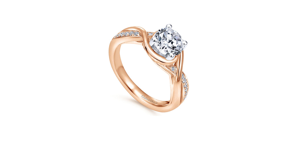 Bailey 14k Rose Gold Round Twisted Engagement Ring