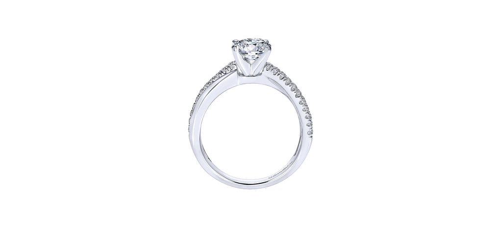 Morgan 14k White Gold Round Twisted Engagement Ring