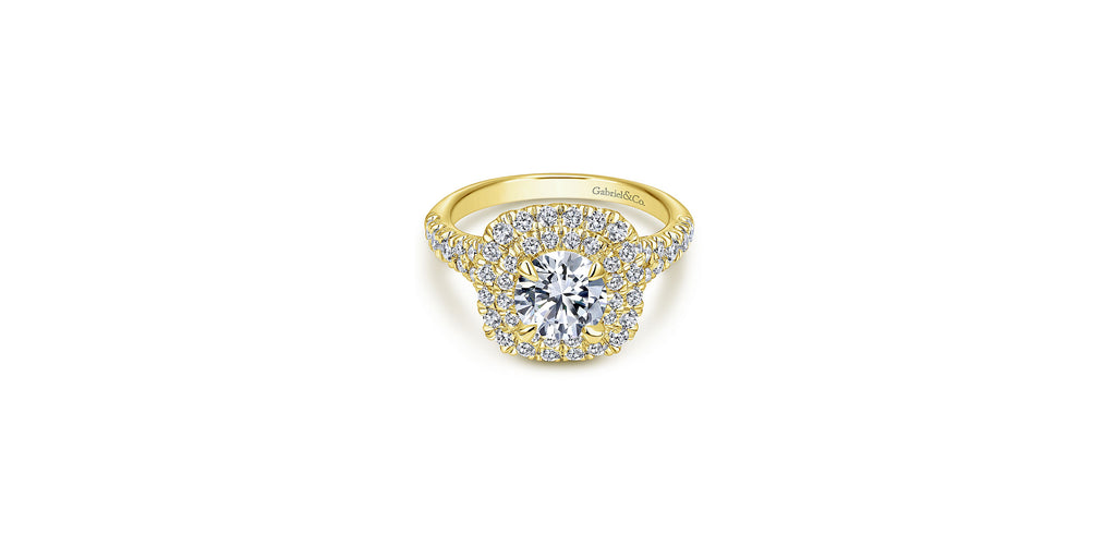 Lexie 14k Yellow Gold Round Double Halo Engagement Ring