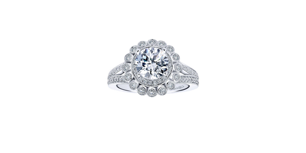 Bloomfield 14k White Gold Round Double Halo Engagement Ring
