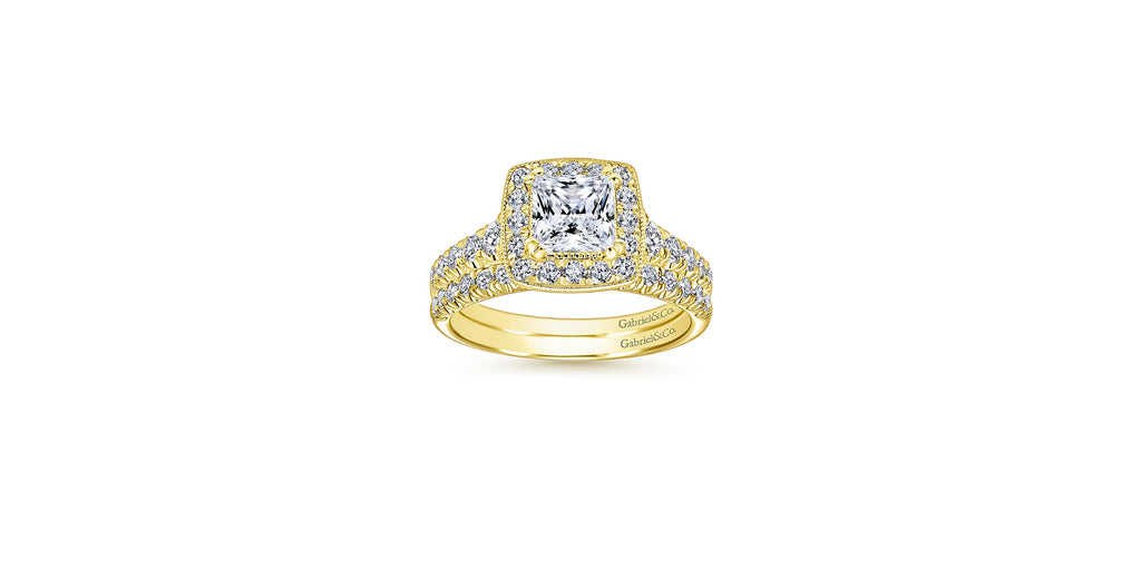 Addison Vintage 14k Yellow Gold Princess Halo Engagement Ring