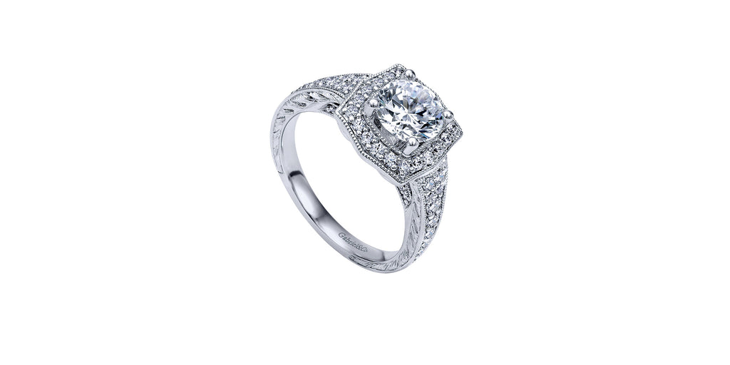 Theresa Vintage 14k White Gold Round Halo Engagement Ring