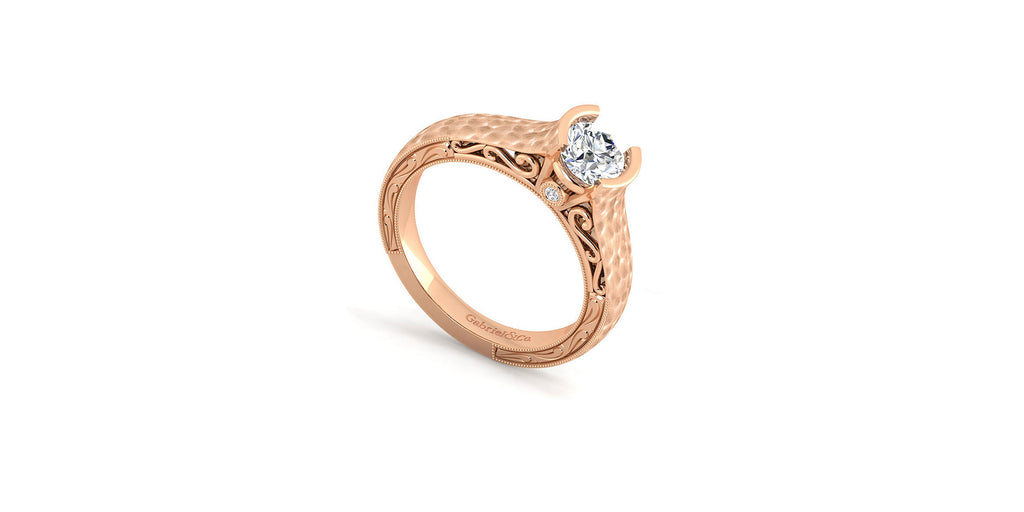 Kiera 14k Rose Gold Round Solitaire Engagement Ring