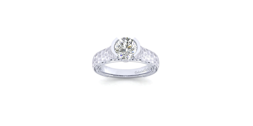 Kiera Vintage 14k White Gold Round Straight Engagement Ring