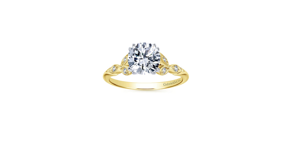 Celia Vintage 14k Yellow Gold Round Straight Engagement Ring
