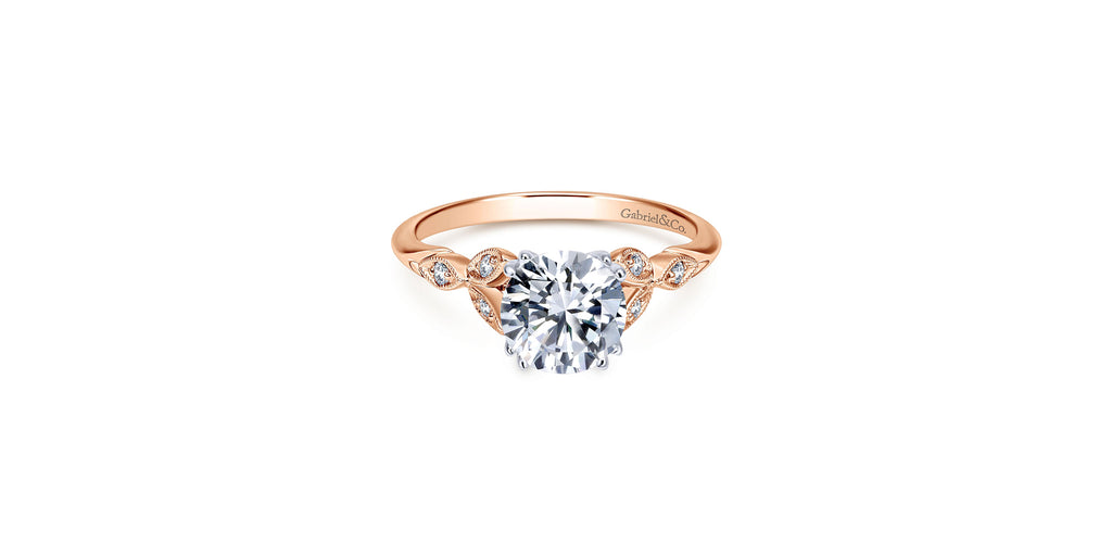 Celia Vintage 14k Rose Gold Round Straight Engagement Ring