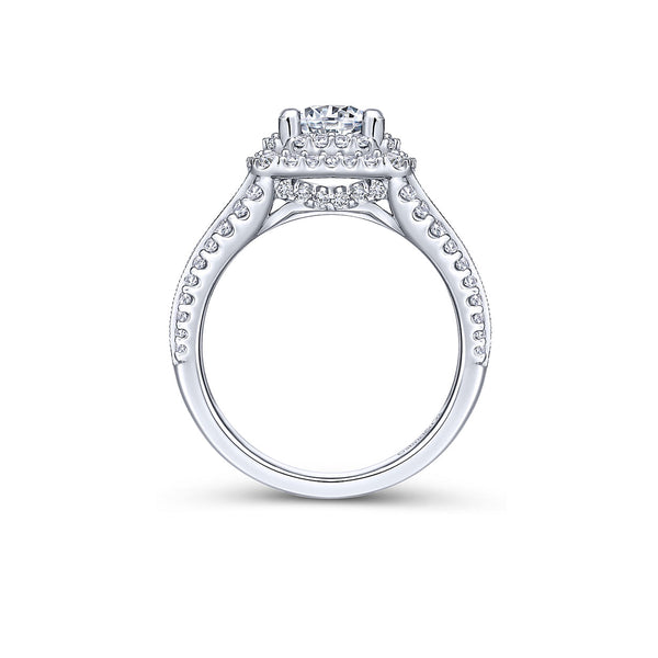 Henrietta Platinum Round Double Halo Engagement Ring