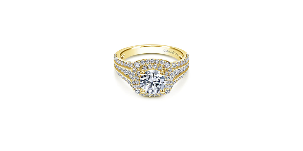Henrietta 14k Yellow Gold Round Double Halo Engagement Ring