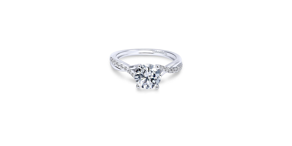 Leigh Platinum Round Twisted Engagement Ring