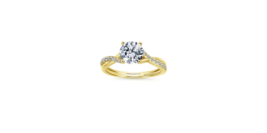 Leigh 14k Yellow Gold Round Twisted Engagement Ring