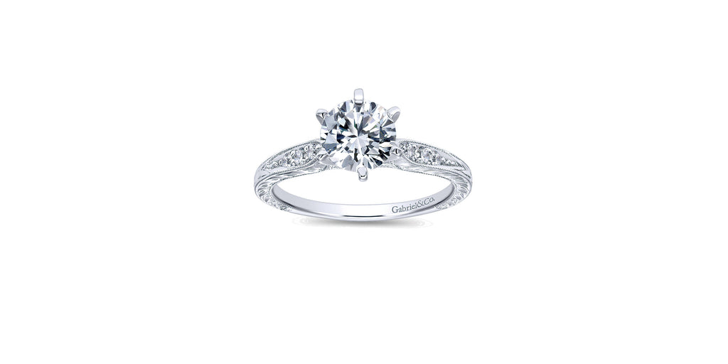 Kate Vintage 14k White Gold Round Straight Engagement Ring