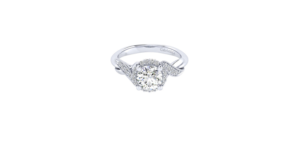 Shae 14k White Gold Round Halo Engagement Ring