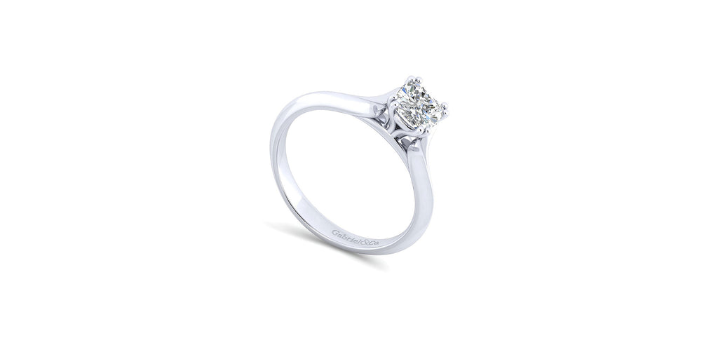 Ellis 14k White Gold Cushion Shape Solitaire Engagement Ring