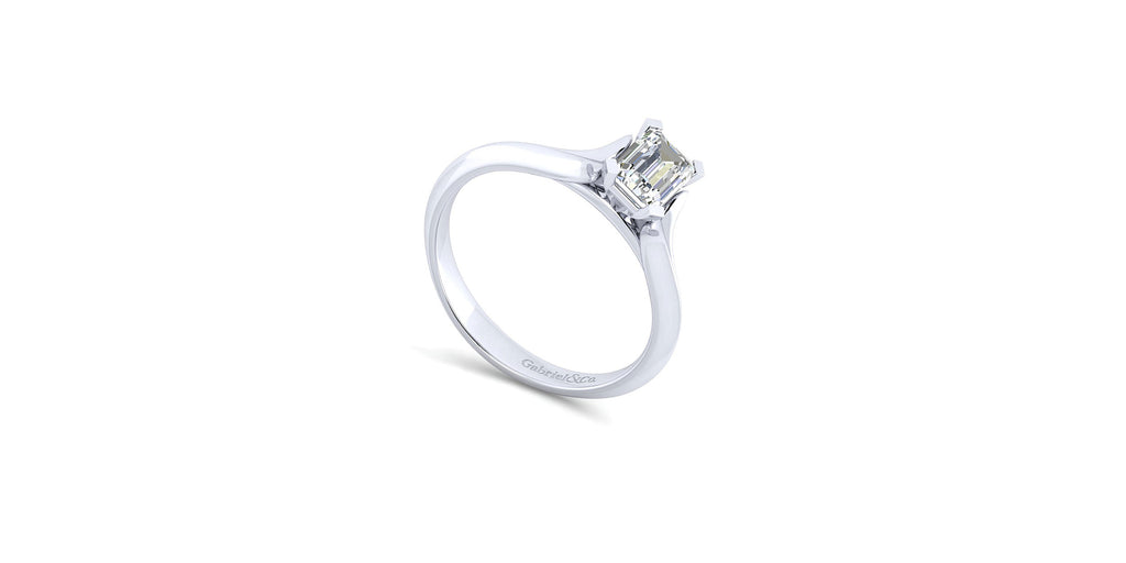 Ellis 14k White Gold Emerald Shape Solitaire Engagement Ring