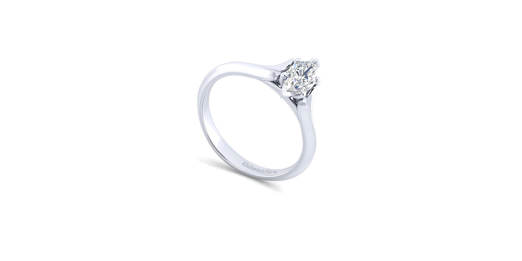 Ellis 14k White Gold Marquise Shape Solitaire Engagement Ring