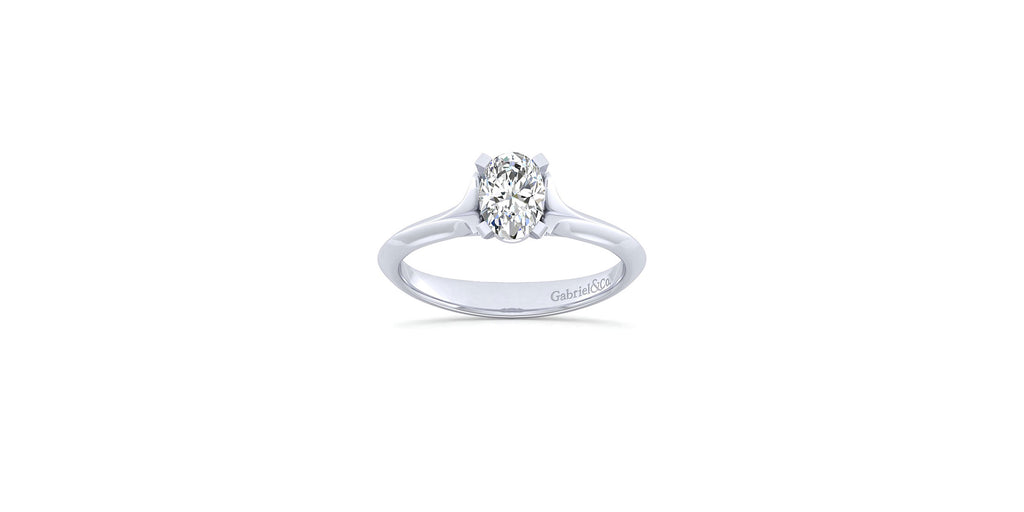 Ellis 14k White Gold Oval Shape Solitaire Engagement Ring