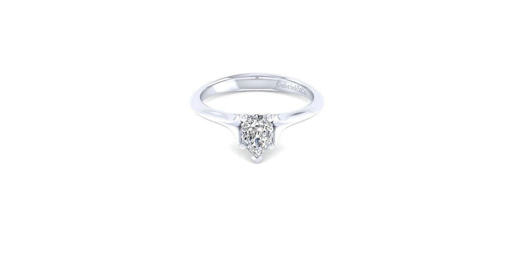 Ellis 14k White Gold Pear Shape Solitaire Engagement Ring