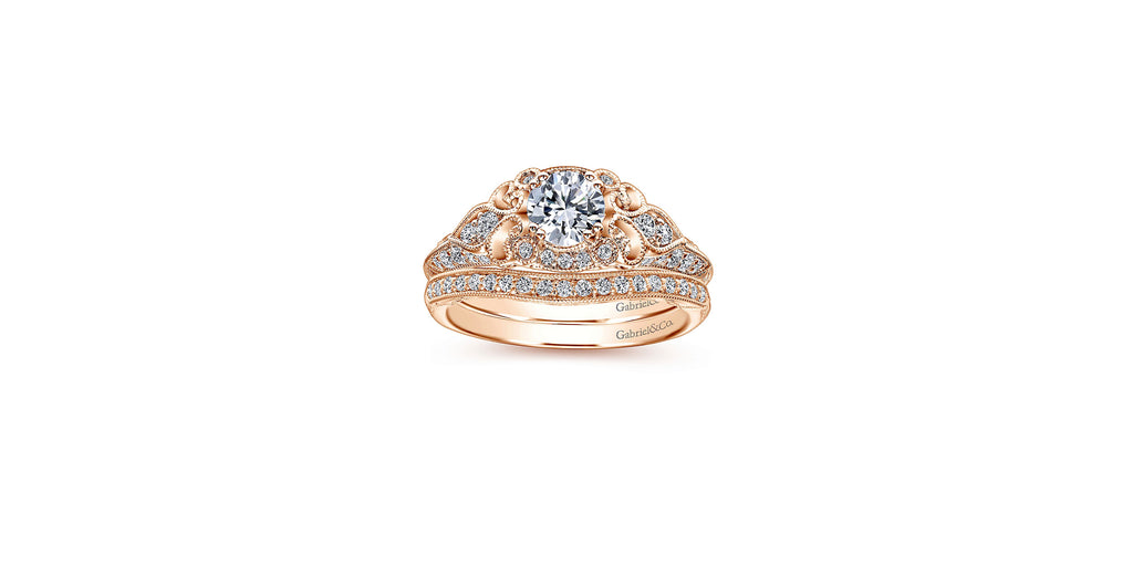 Halsey 14k Rose Gold Round Halo Engagement Ring