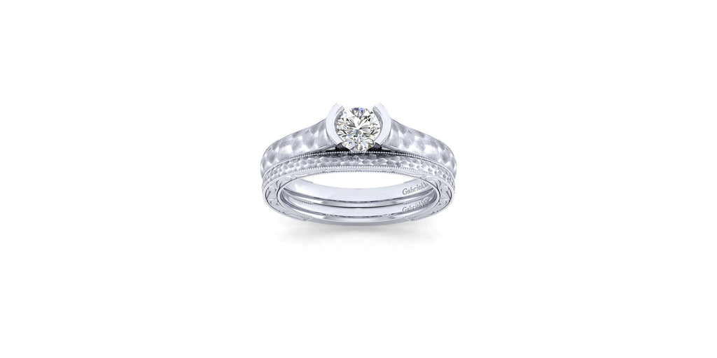 Kiera 14k White Gold Round Solitaire Engagement Ring