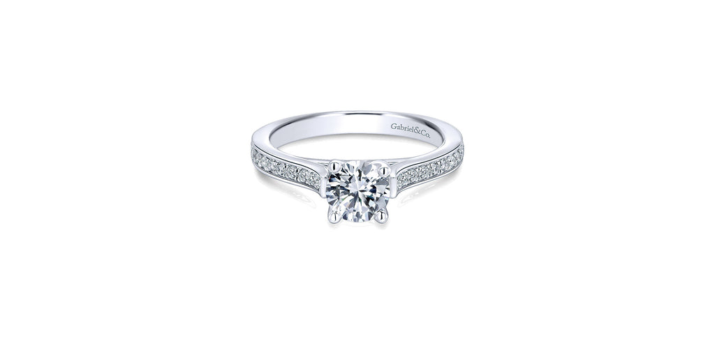 Hayden 14k White Gold Round Straight Engagement Ring